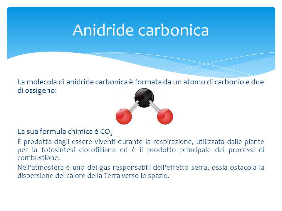 Anidride carbonica La molecola di anidride carbonica è formata da un atomo di carbonio e due di ossigeno:
