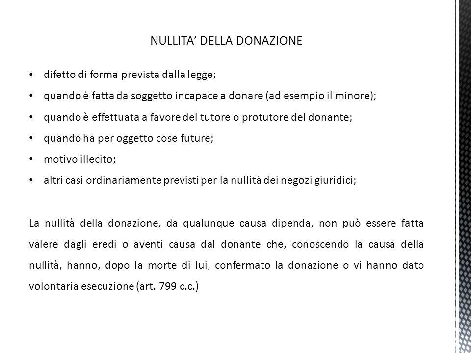 NULLITA' DELLA DONAZIONE