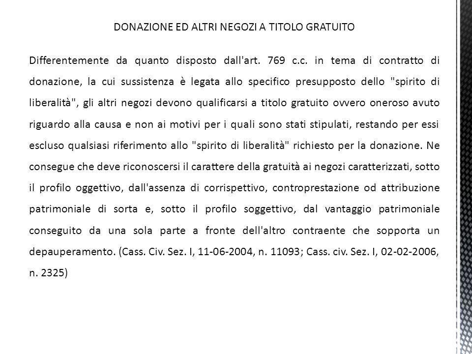 DONAZIONE ED ALTRI NEGOZI A TITOLO GRATUITO