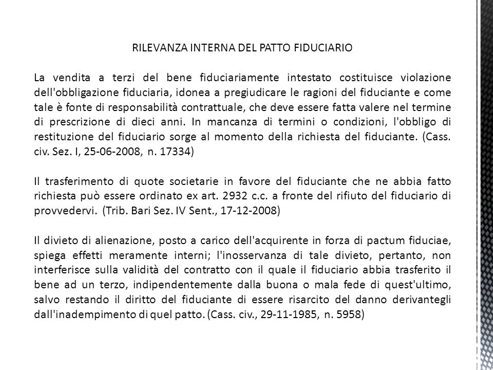 RILEVANZA INTERNA DEL PATTO FIDUCIARIO