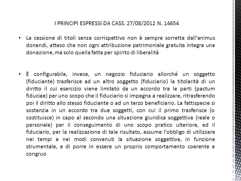 I PRINCIPI ESPRESSI DA CASS. 27/08/2012 N. 14654