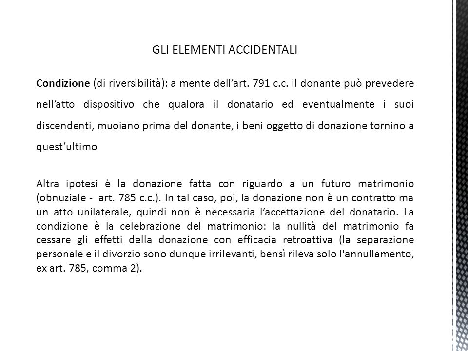 GLI ELEMENTI ACCIDENTALI