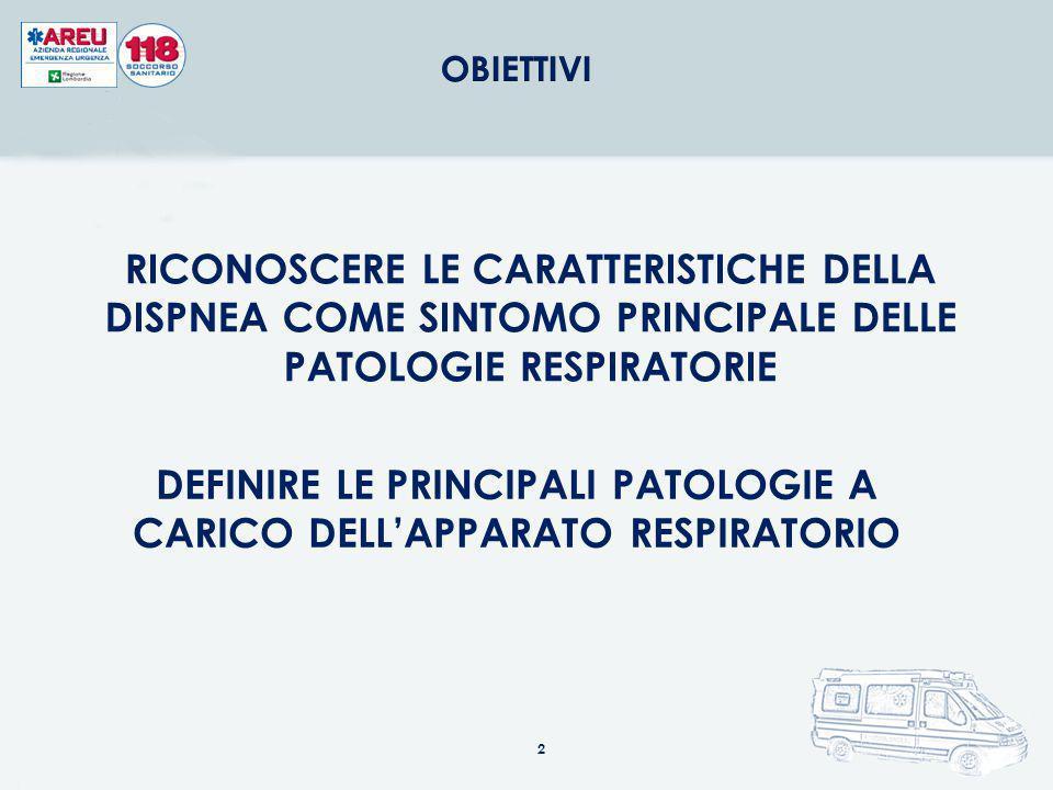 DEFINIRE LE PRINCIPALI PATOLOGIE A CARICO DELL'APPARATO RESPIRATORIO