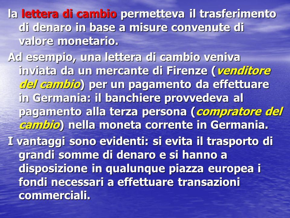 la lettera di cambio permetteva il trasferimento di denaro in base a misure convenute di valore monetario.