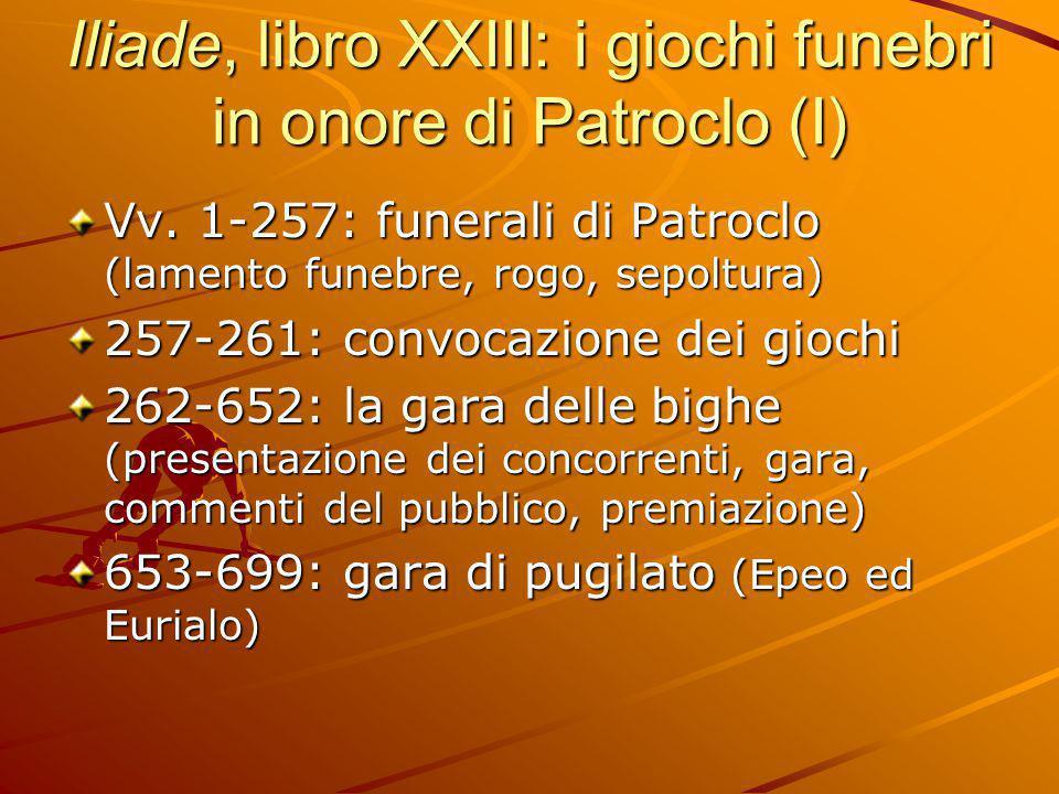 Iliade, libro XXIII: i giochi funebri in onore di Patroclo (I)