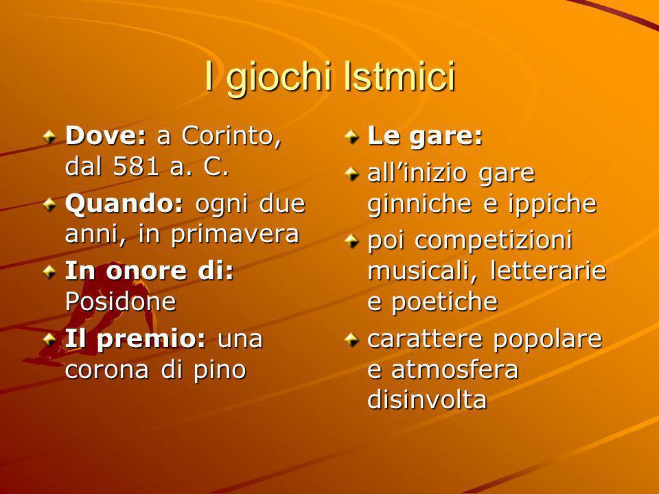I giochi Istmici Dove: a Corinto, dal 581 a. C.
