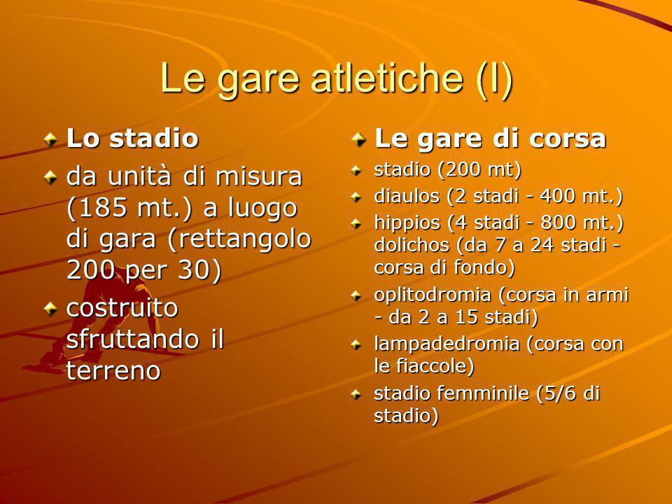 Le gare atletiche (I) Lo stadio