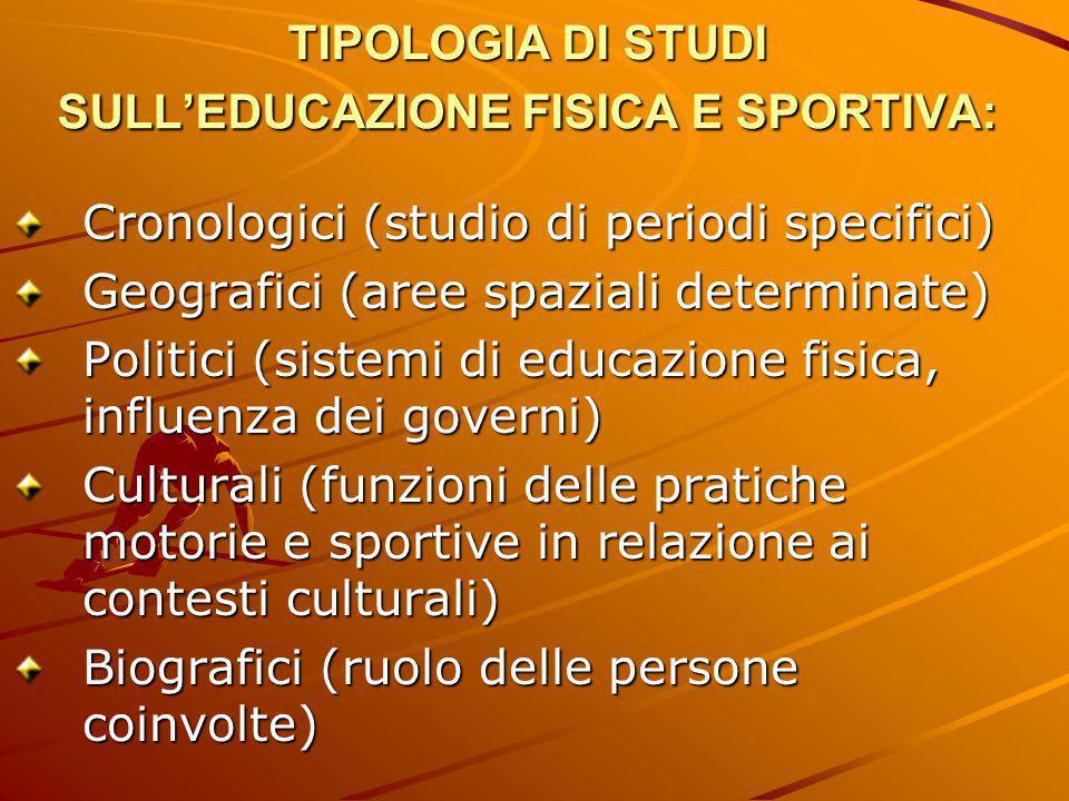 TIPOLOGIA DI STUDI SULL'EDUCAZIONE FISICA E SPORTIVA: