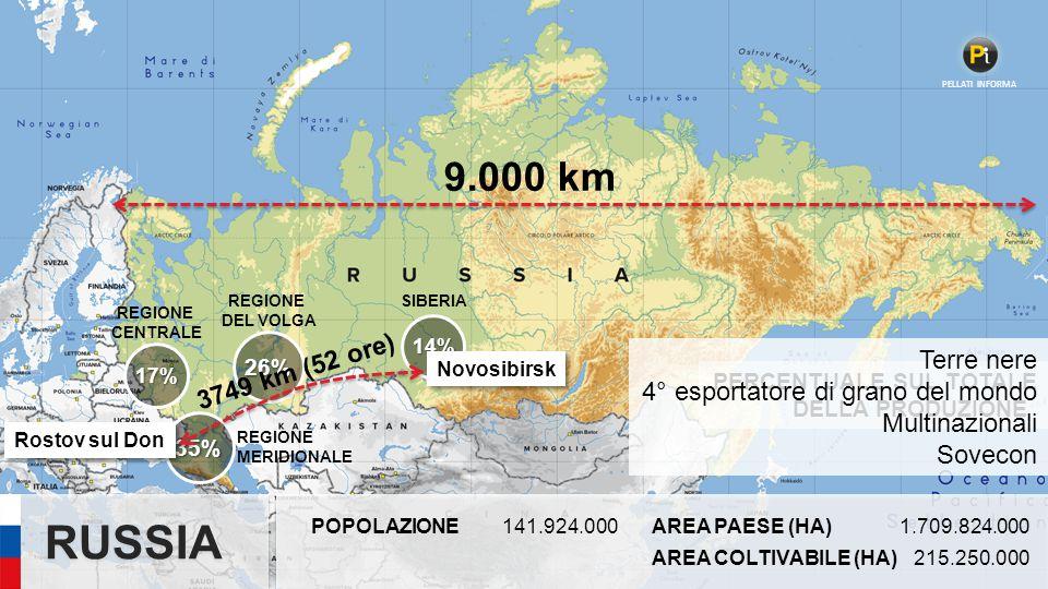 RUSSIA 9.000 km 3749 km (52 ore) Terre nere