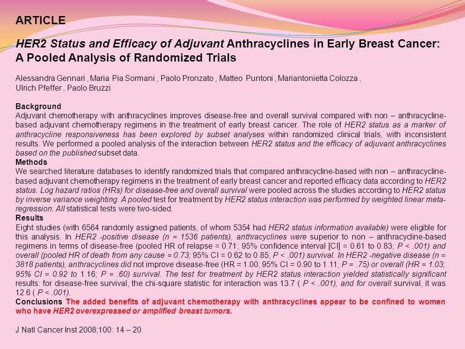 ARTICLE HER2 Status and Efficacy of Adjuvant Anthracyclines in Early Breast Cancer: A Pooled Analysis of Randomized Trials.