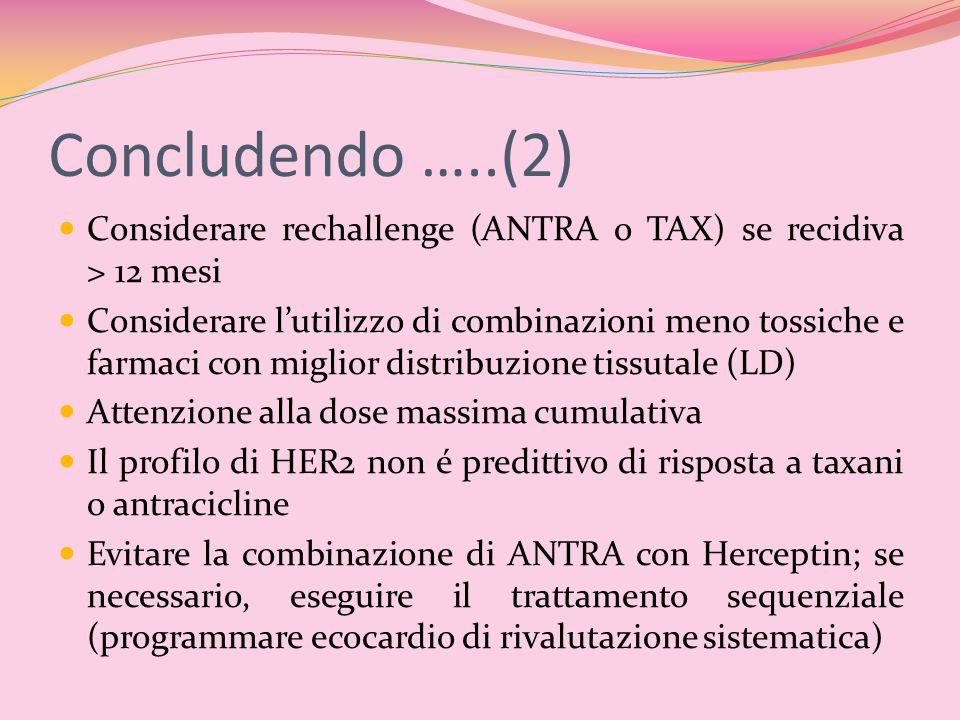 Concludendo …..(2) Considerare rechallenge (ANTRA o TAX) se recidiva > 12 mesi.