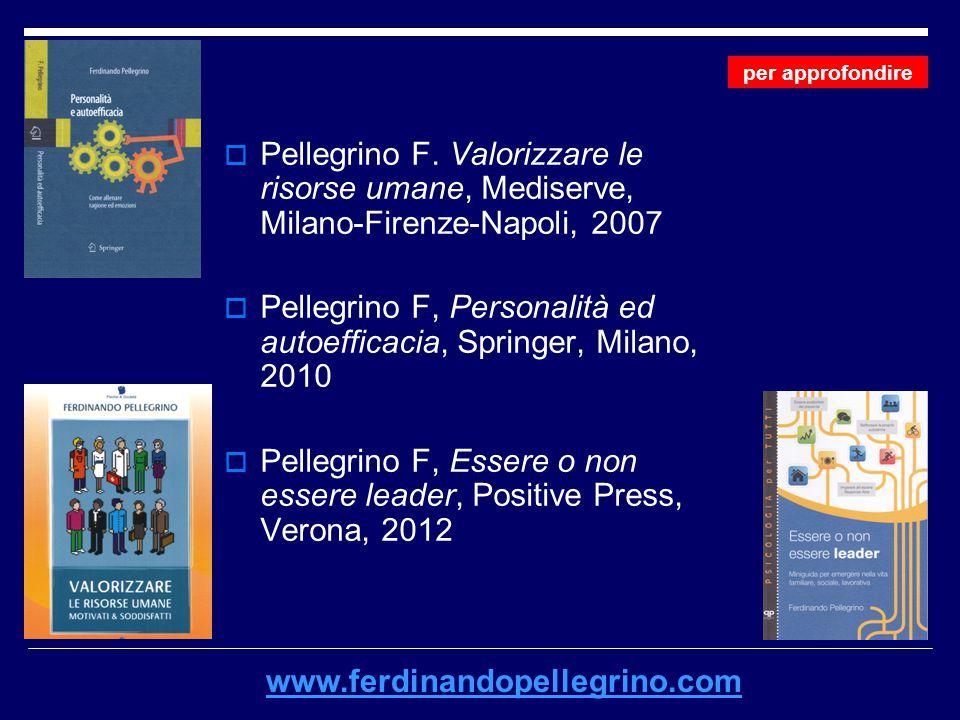 Pellegrino F, Personalità ed autoefficacia, Springer, Milano, 2010