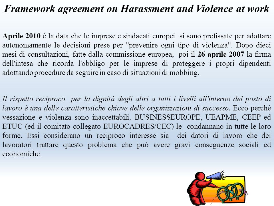Framework agreement on Harassment and Violence at work