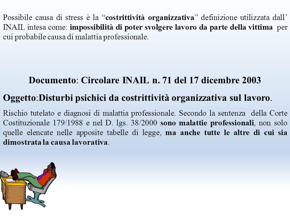 Documento: Circolare INAIL n. 71 del 17 dicembre 2003