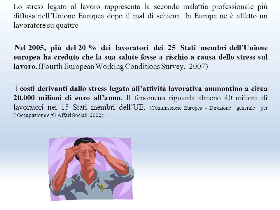 Lo stress legato al lavoro rappresenta la seconda malattia professionale più diffusa nell'Unione Europea dopo il mal di schiena. In Europa ne è affetto un lavoratore su quattro