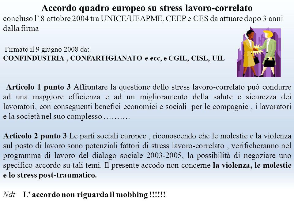 Accordo quadro europeo su stress lavoro-correlato