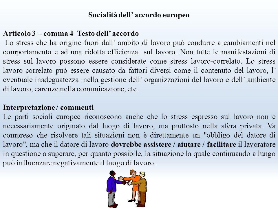 Socialità dell' accordo europeo