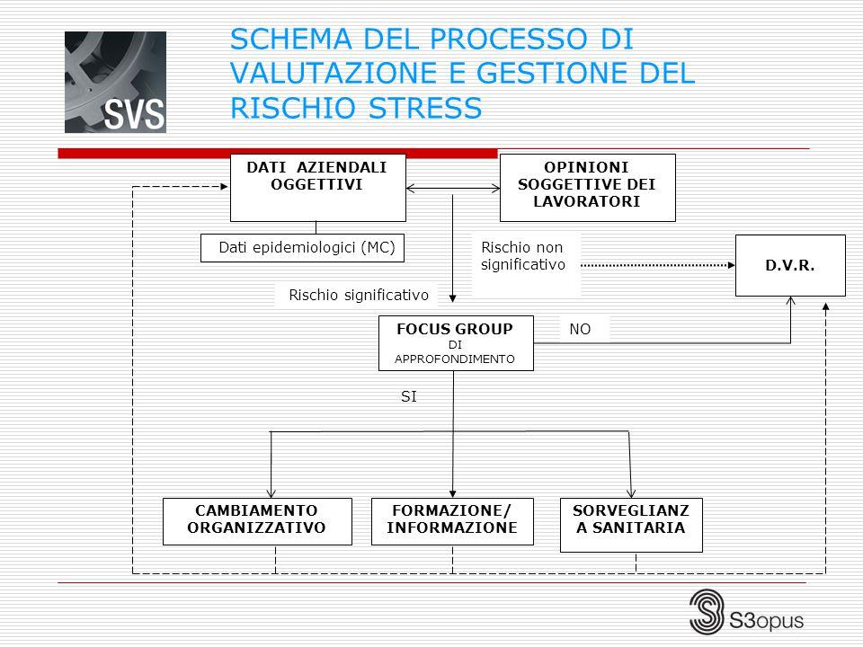 SCHEMA DEL PROCESSO DI VALUTAZIONE E GESTIONE DEL RISCHIO STRESS