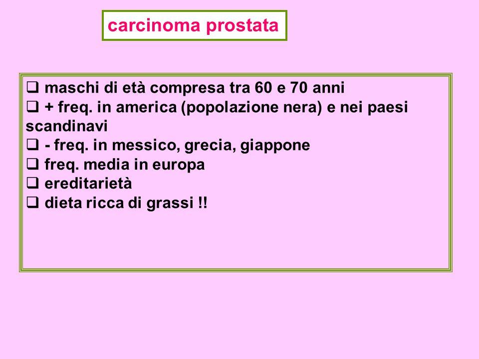 carcinoma prostata maschi di età compresa tra 60 e 70 anni