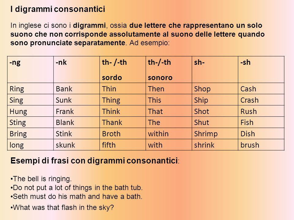 I digrammi consonantici