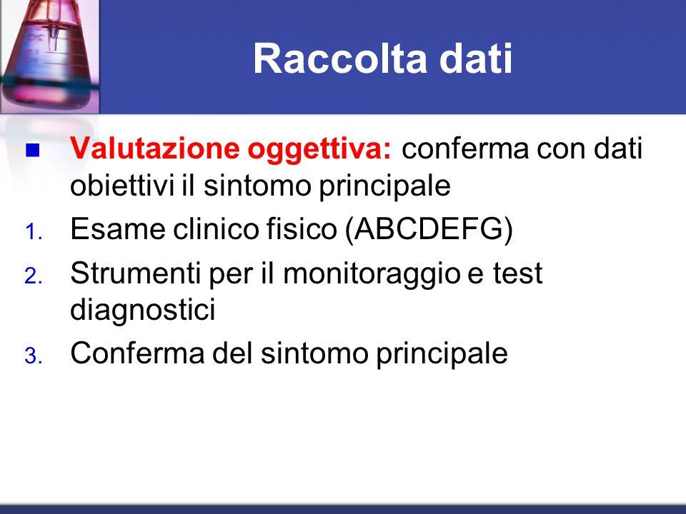 Raccolta dati Valutazione oggettiva: conferma con dati obiettivi il sintomo principale. Esame clinico fisico (ABCDEFG)