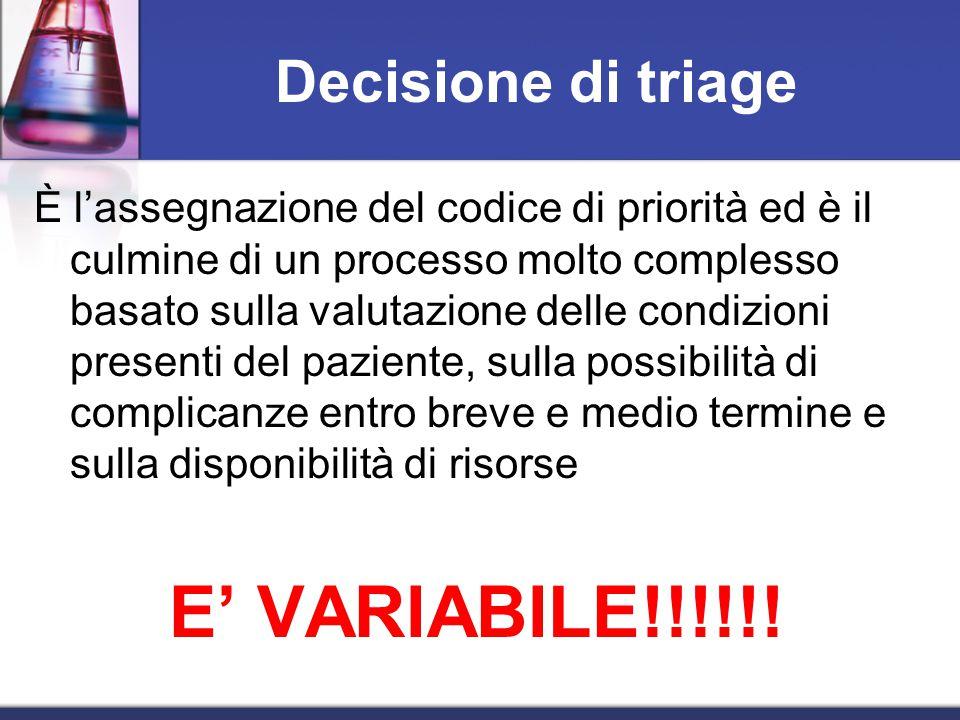 E' VARIABILE!!!!!! Decisione di triage