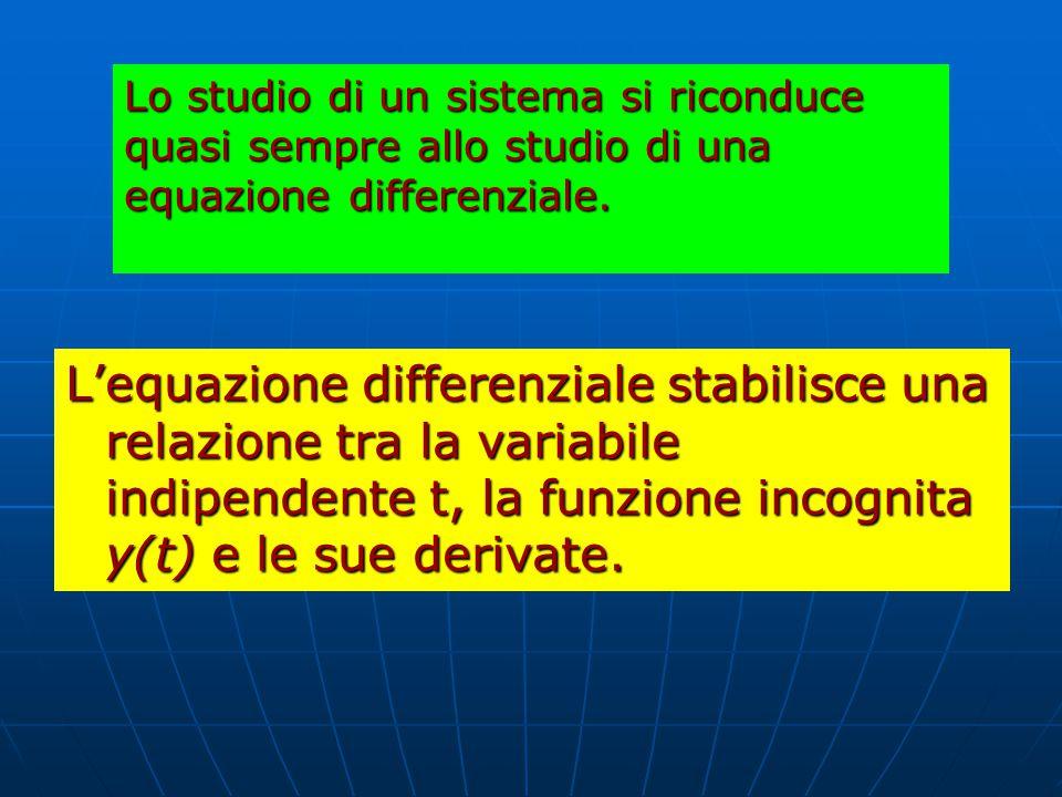 Lo studio di un sistema si riconduce quasi sempre allo studio di una equazione differenziale.