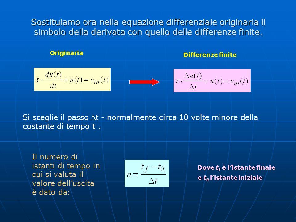 Sostituiamo ora nella equazione differenziale originaria il simbolo della derivata con quello delle differenze finite.