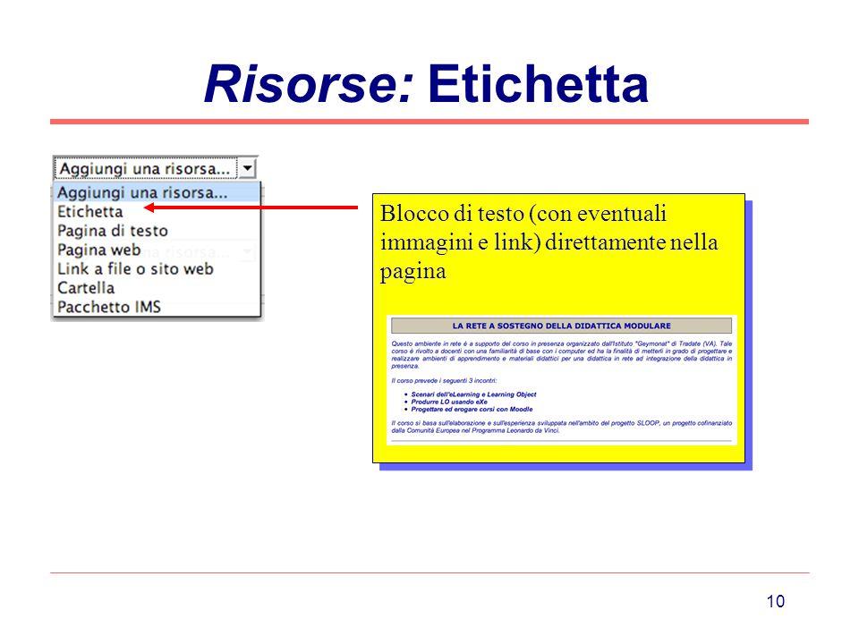 Risorse: Etichetta Blocco di testo (con eventuali immagini e link) direttamente nella pagina