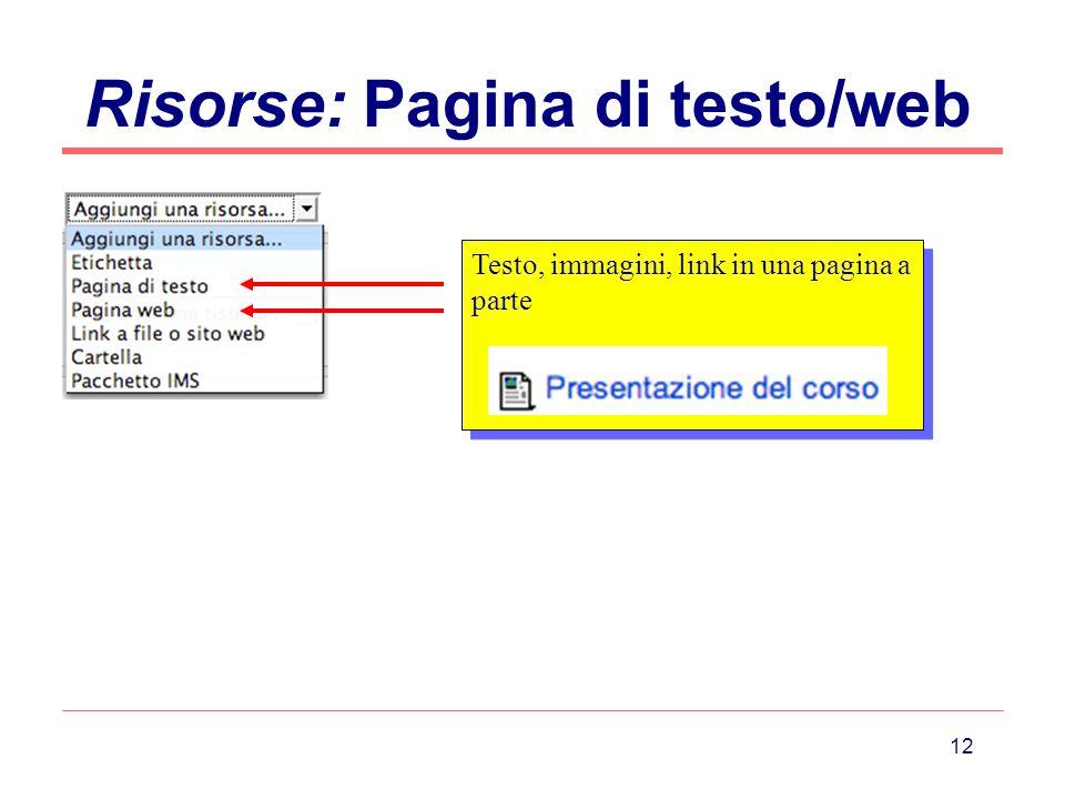 Risorse: Pagina di testo/web