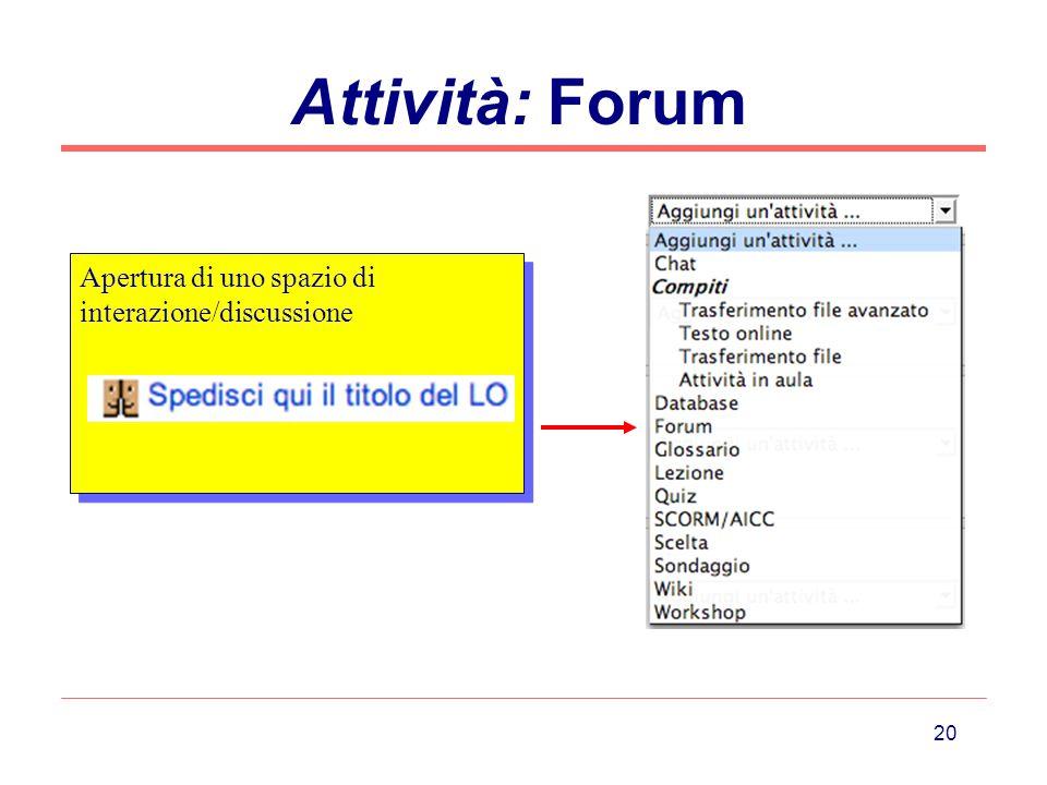 Attività: Forum Apertura di uno spazio di interazione/discussione