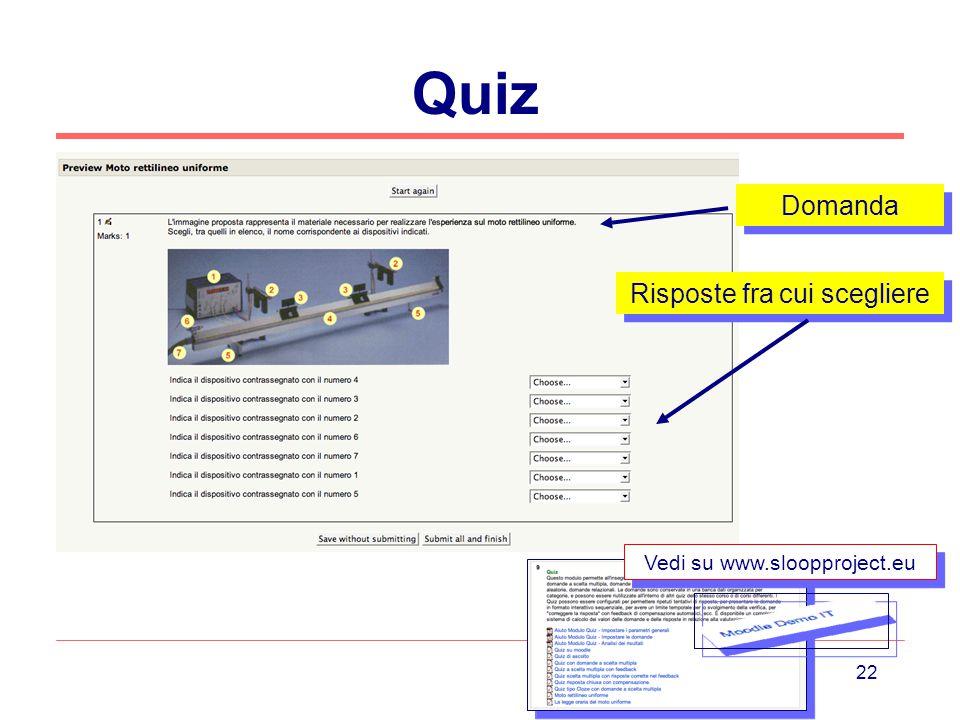 Quiz Domanda Risposte fra cui scegliere Vedi su www.sloopproject.eu