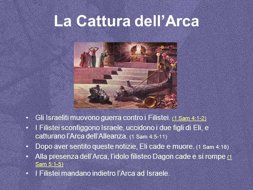 La Cattura dell'Arca Gli Israeliti muovono guerra contro i Filistei. (1 Sam 4:1-2)