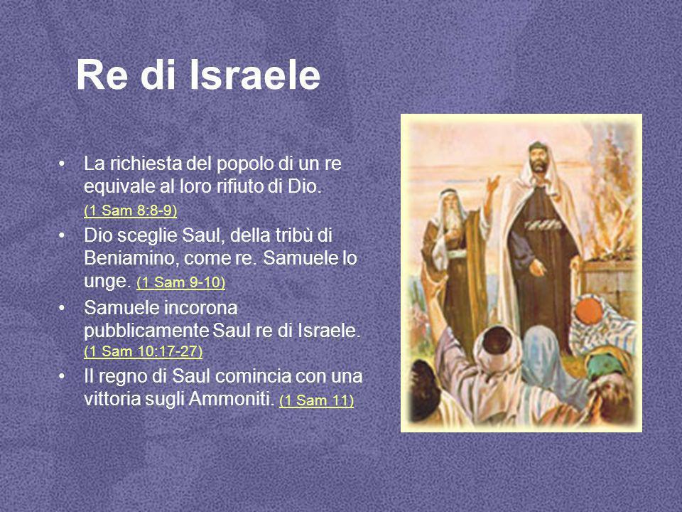 Re di Israele La richiesta del popolo di un re equivale al loro rifiuto di Dio. (1 Sam 8:8-9)