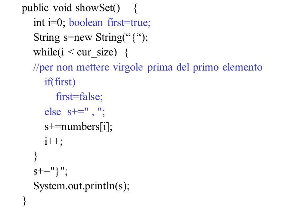 public void showSet() {