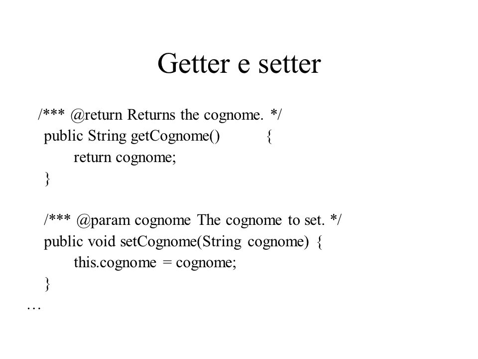 Getter e setter /*** @return Returns the cognome. */