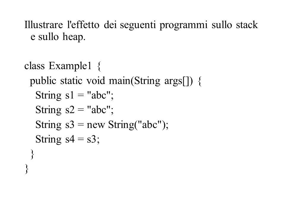 Illustrare l effetto dei seguenti programmi sullo stack e sullo heap.