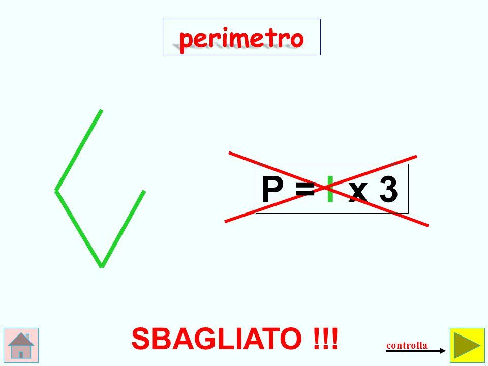 perimetro P = l x 3 SBAGLIATO !!! controlla
