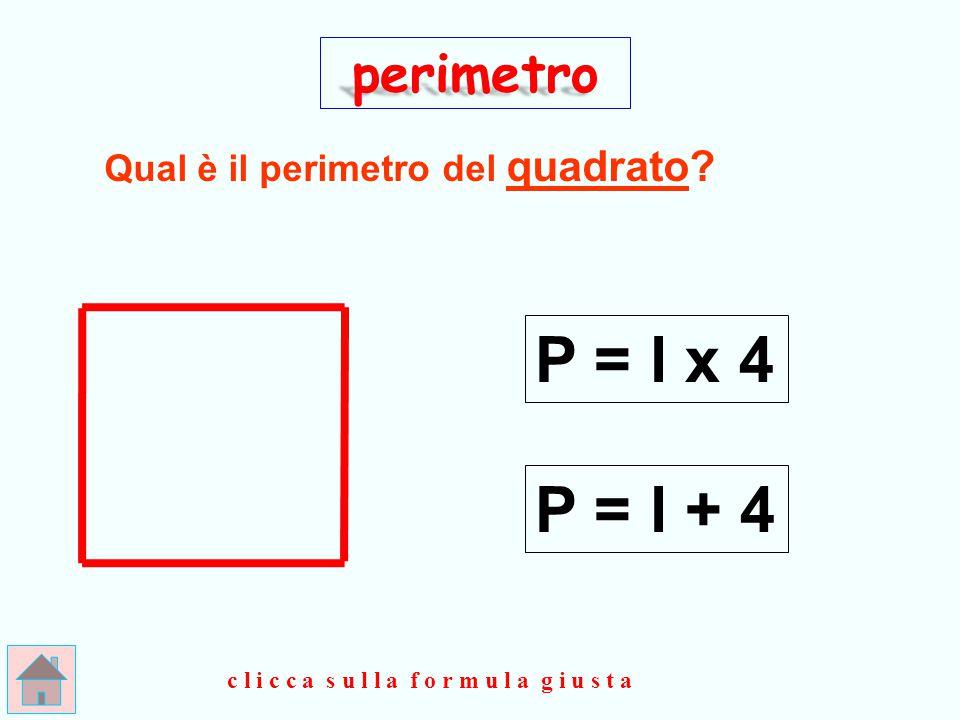 P = l x 4 P = l + 4 perimetro Qual è il perimetro del quadrato