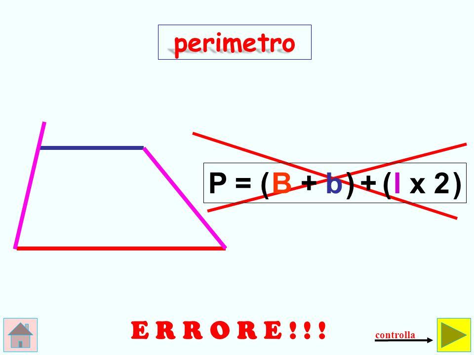perimetro P = ( B + b ) + ( l x 2 ) E R R O R E ! ! ! controlla