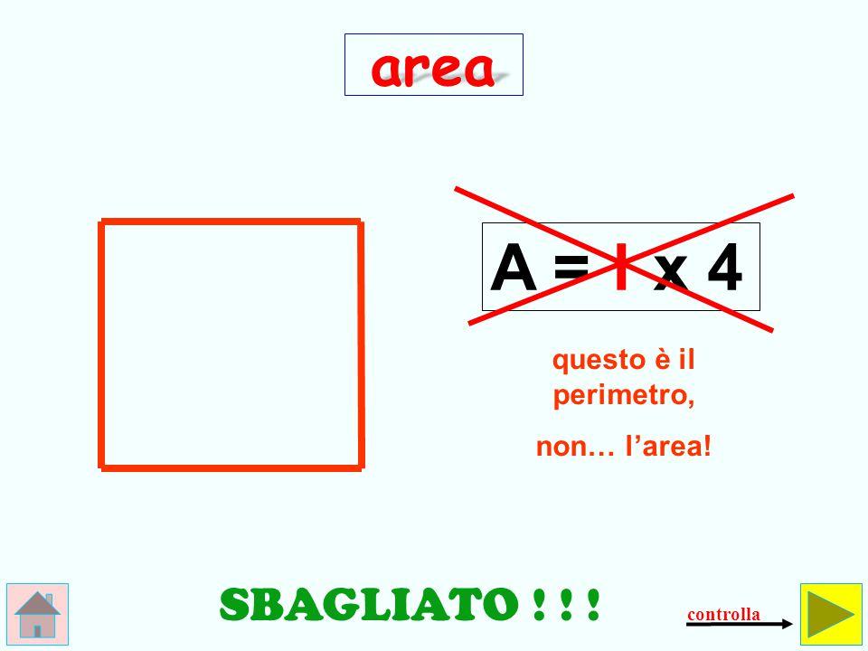 A = l x 4 area SBAGLIATO ! ! ! questo è il perimetro, non… l'area!