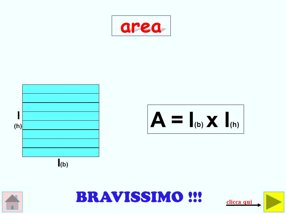 area A = l(b) x l(h) l (h) l(b) BRAVISSIMO !!! clicca qui