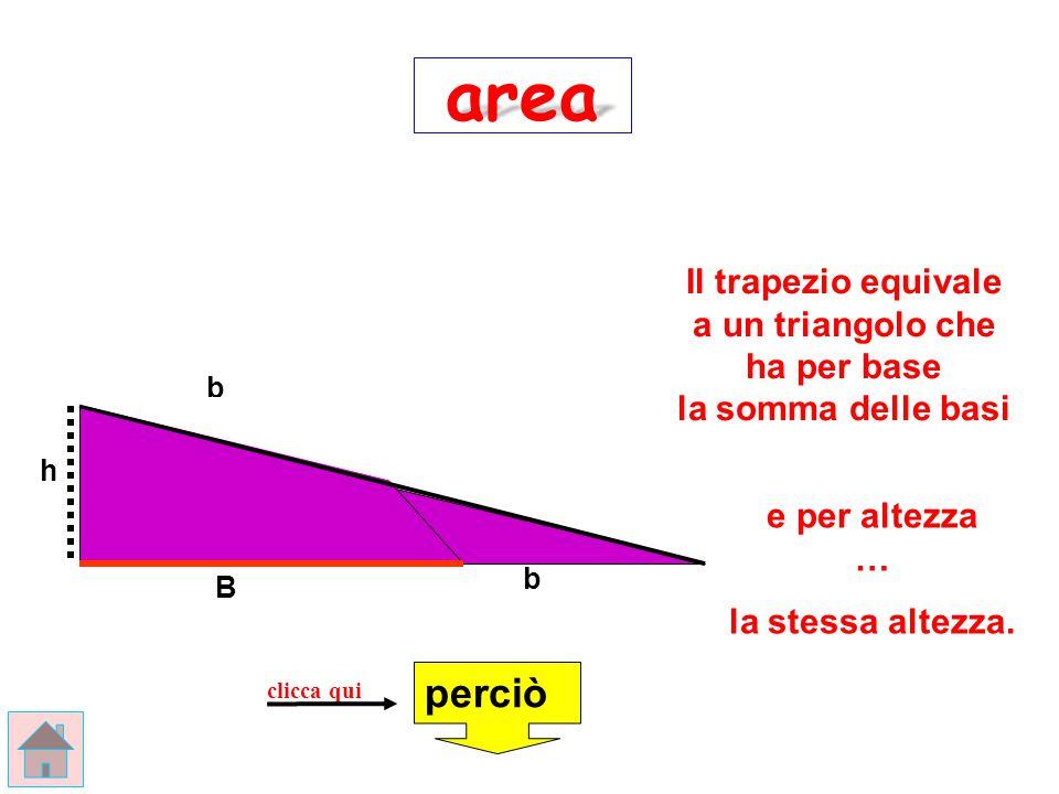 area Il trapezio equivale a un triangolo che ha per base la somma delle basi. b.