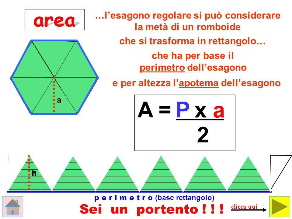 A = P x a 2 area Sei un portento ! ! !