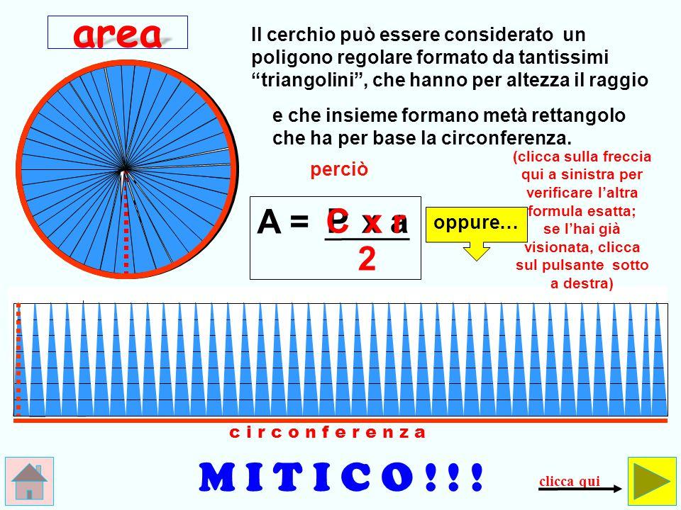 area Il cerchio può essere considerato un poligono regolare formato da tantissimi triangolini , che hanno per altezza il raggio.