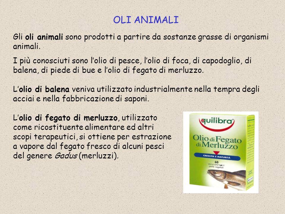 OLI ANIMALI Gli oli animali sono prodotti a partire da sostanze grasse di organismi animali.