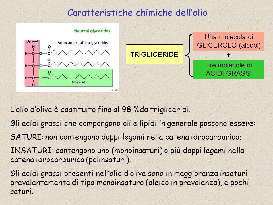 Caratteristiche chimiche dell'olio