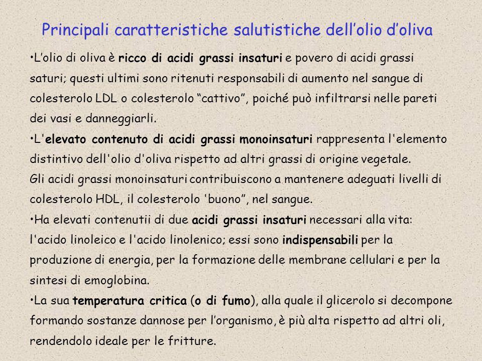 Principali caratteristiche salutistiche dell'olio d'oliva