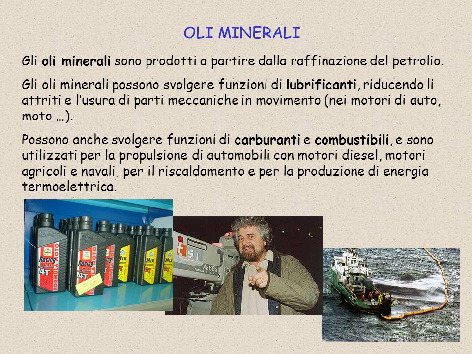 OLI MINERALI Gli oli minerali sono prodotti a partire dalla raffinazione del petrolio.
