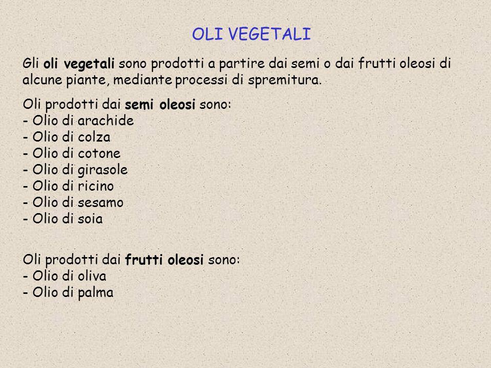 OLI VEGETALI Gli oli vegetali sono prodotti a partire dai semi o dai frutti oleosi di alcune piante, mediante processi di spremitura.
